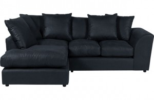 Carter Leather Effect Right Hand Corner Sofa - Black
