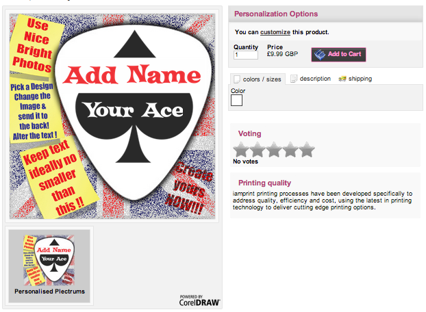 Personalised plectrums design online tool